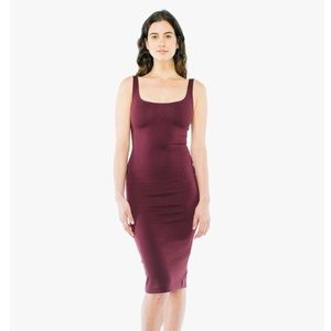American Apparel Bodycon Ponte Tank Burgundy Dress